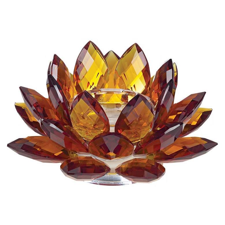 "Amber Glass 9 1/4"" Wide Crystal Lotus Candle Holder"