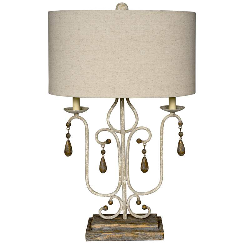 Wesley Distressed White and Brown Table Lamp