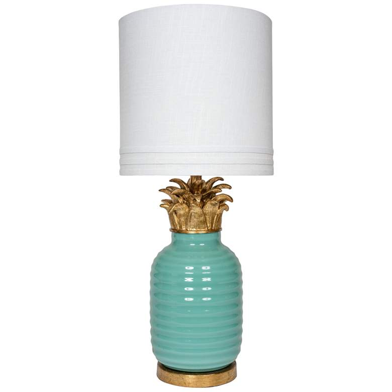 Teal Green Glass Table Lamp with Gold Crown