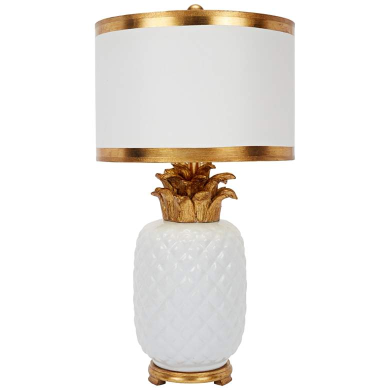 Westport White and Gold Pineapple Ceramic Table Lamp