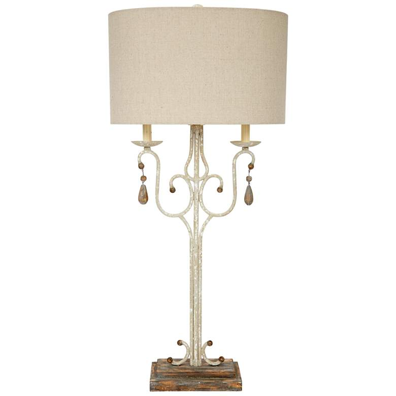 Wesley Distressed White and Brown Buffet Table Lamp
