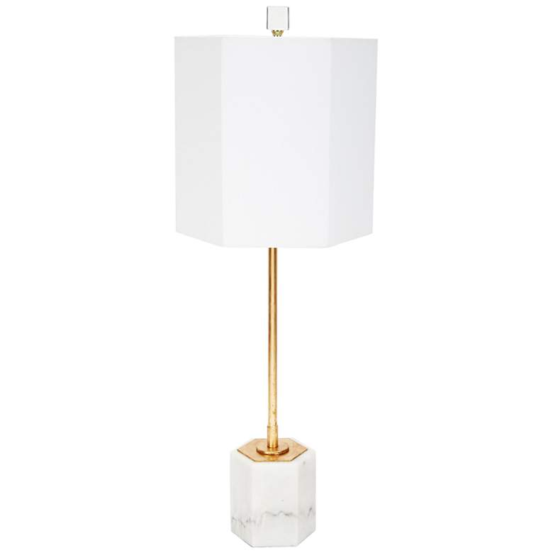 Scout Gold Metal and Hexagon White Marble Buffet Table Lamp
