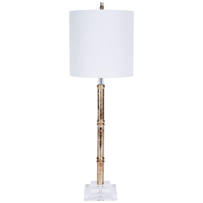 Distressed Silver Bamboo Buffet Table Lamp