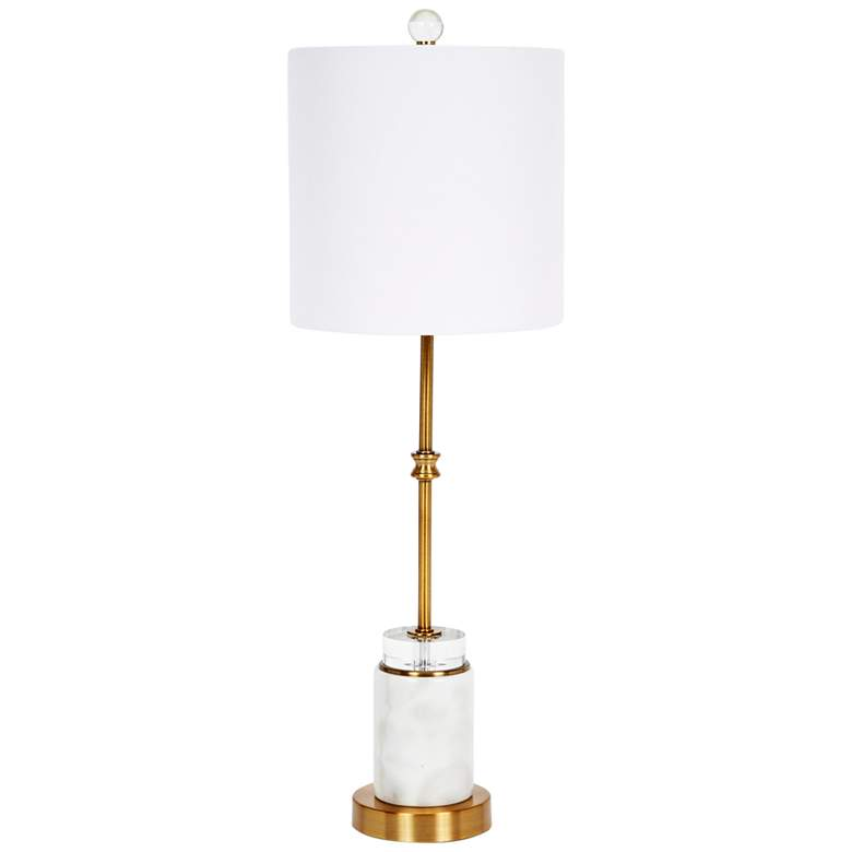 Ana White Marble and Gold Metal Round Buffet Table Lamp