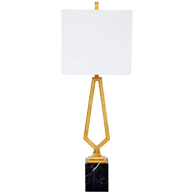 Victor Gold Leaf Metal and Black Marble Table Lamp