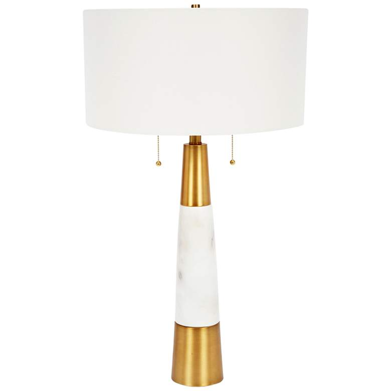 Nadine White Marble and Brass Tapered Table Lamp