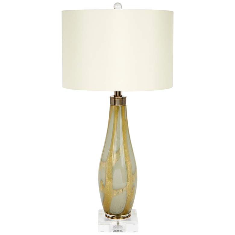 Green and Gold Hand-Blown Glass Vase Table Lamp