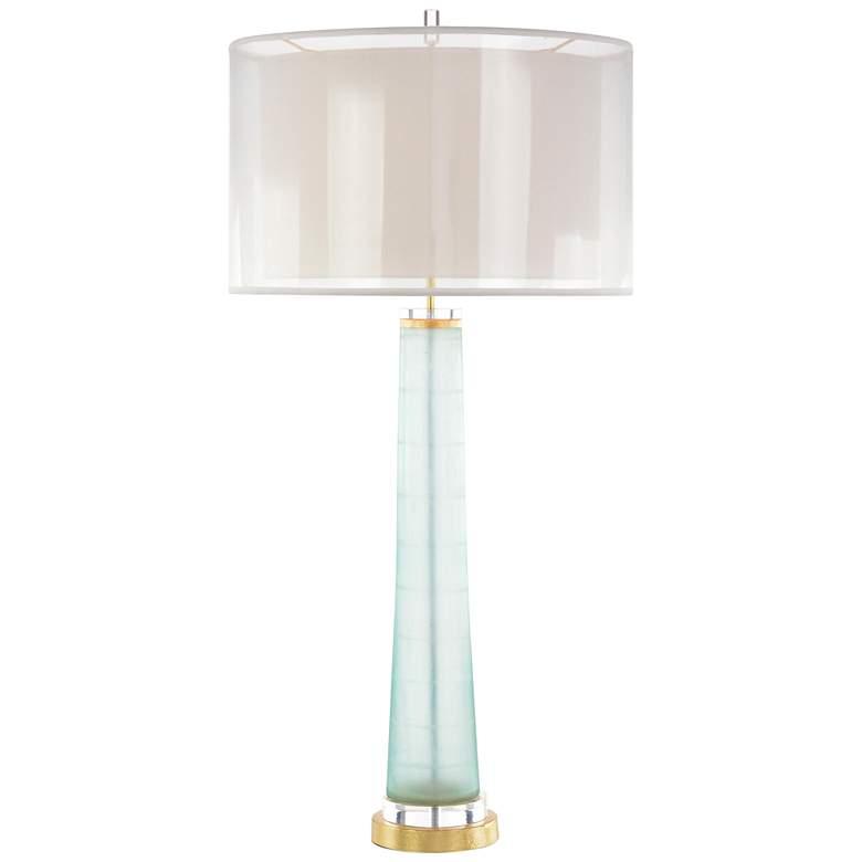 John Richard Pale Aqua Glass Column Table Lamp
