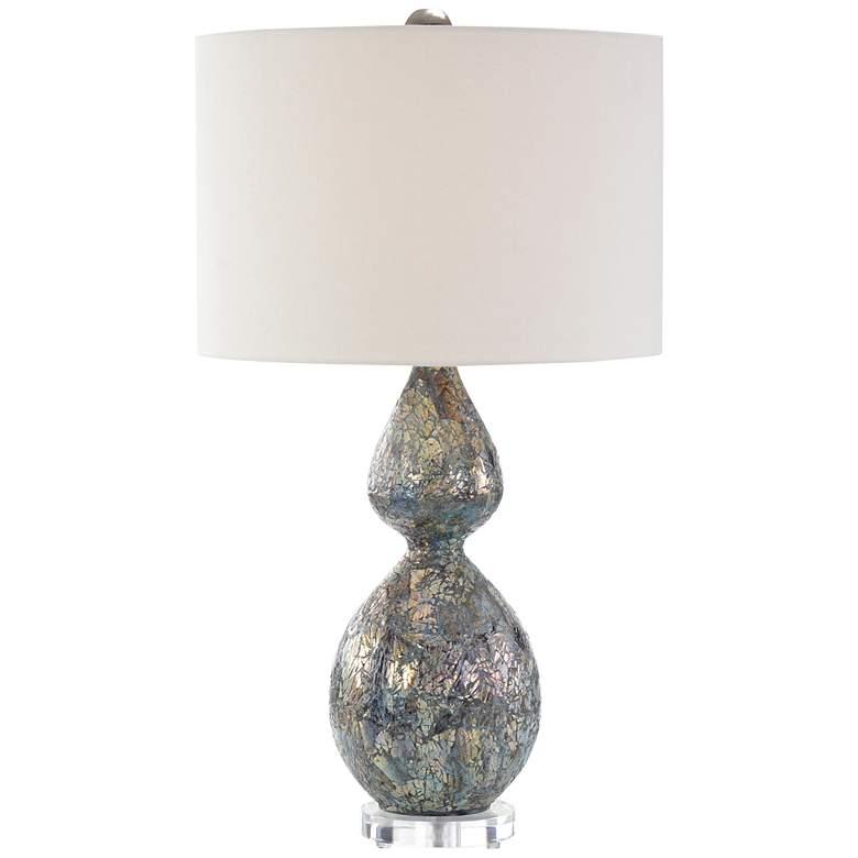 John Richard Blue and Silver Mosaic Glass Gourd Table Lamp