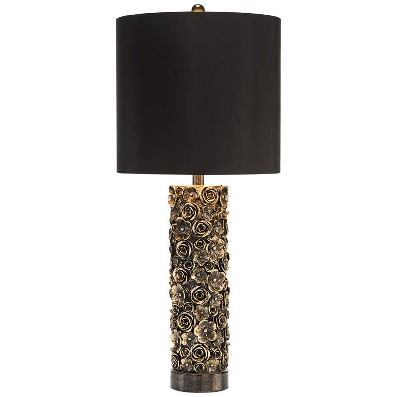 John Richard Distressed Gold and Black Blooms Table Lamp