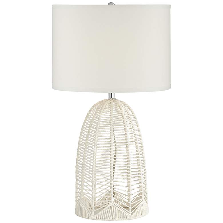 Aria Woven White Rope Cage Table Lamp
