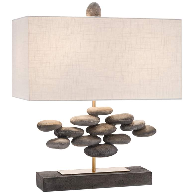 John Richard Stacked River Rock Concrete Accent Table Lamp