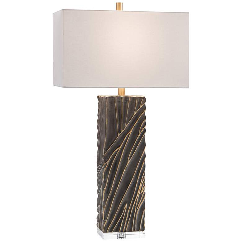 John Richard Aged Stone and Gold Carved Wave Table Lamp
