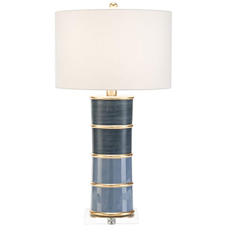 John Richard Sapphire and Gold Pillar Table Lamp