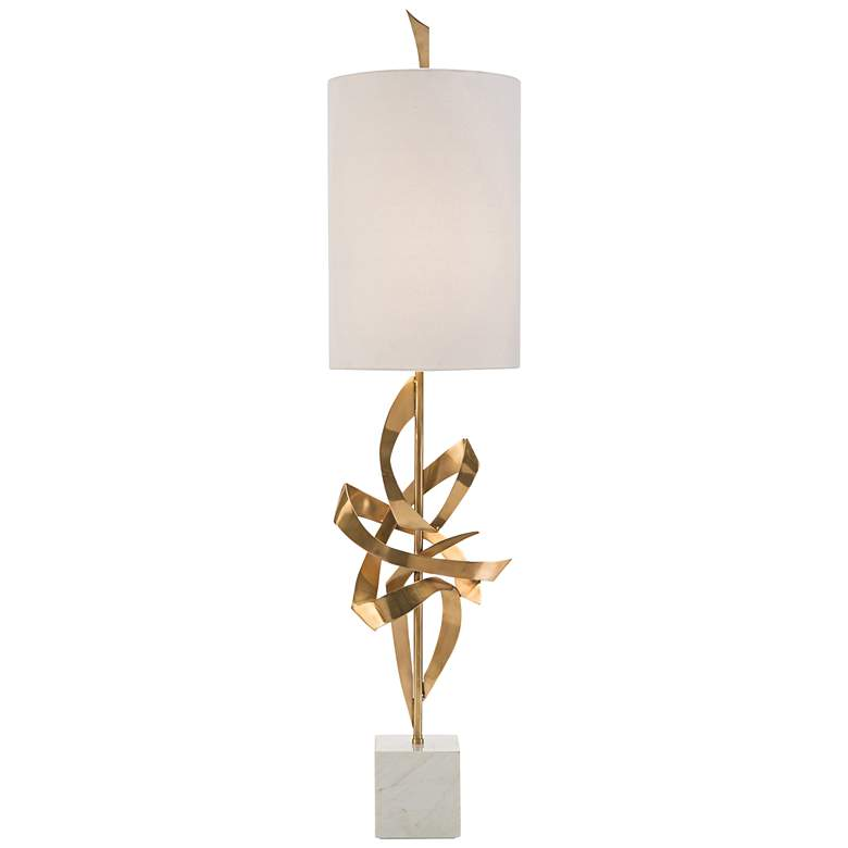 John Richard Polished Brass Architectural Ribbon Table Lamp