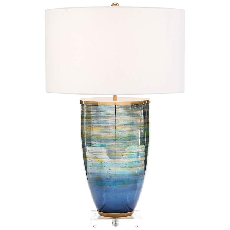 John Richard Blue and Gold Striated Glass Table Lamp