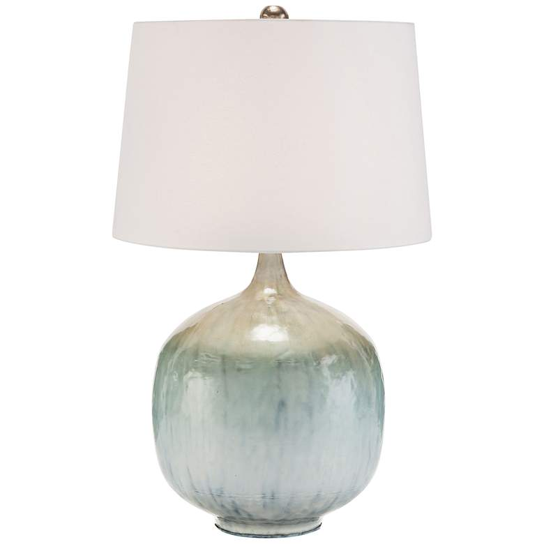 John Richard Pearlized Silver and Blue Table Lamp