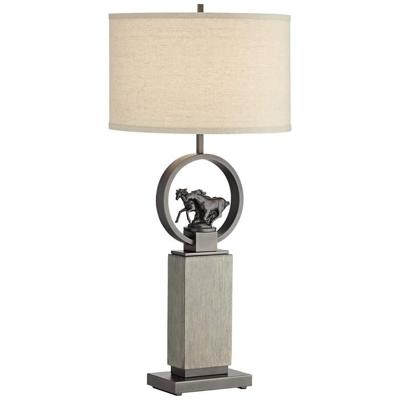 Wild Horses Gun Metal Pedestal Table Lamp