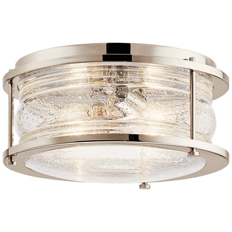 "Ashland Bay 12"" Wide Polished Nickel Outdoor Ceiling Light"