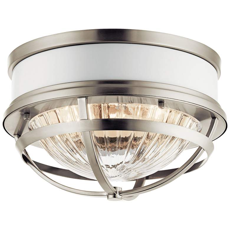 """Kichler Tollis 12""""W Brushed Nickel and White Ceiling Light"""