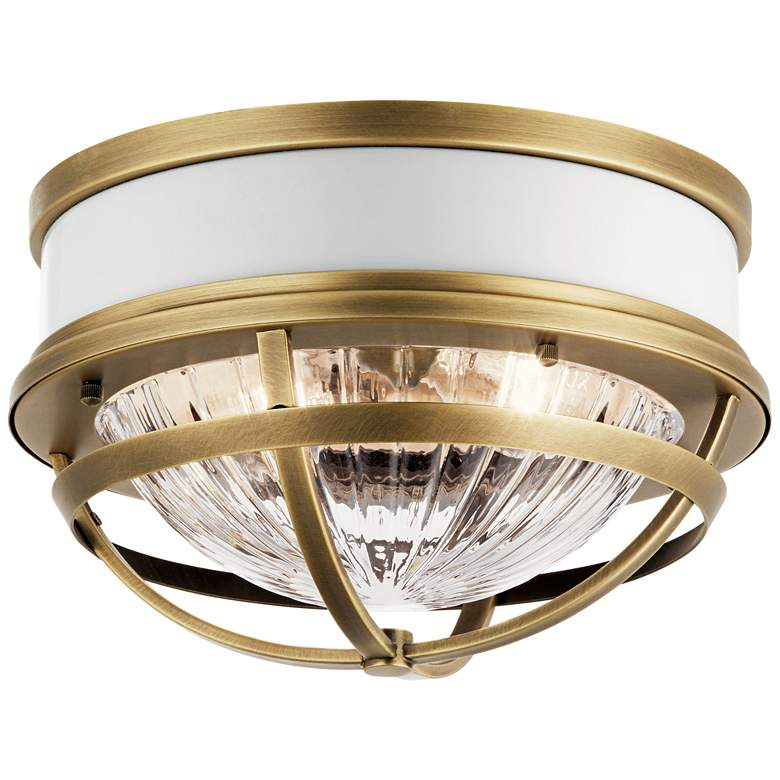 """Kichler Tollis 12""""W Natural Brass and White Ceiling Light"""