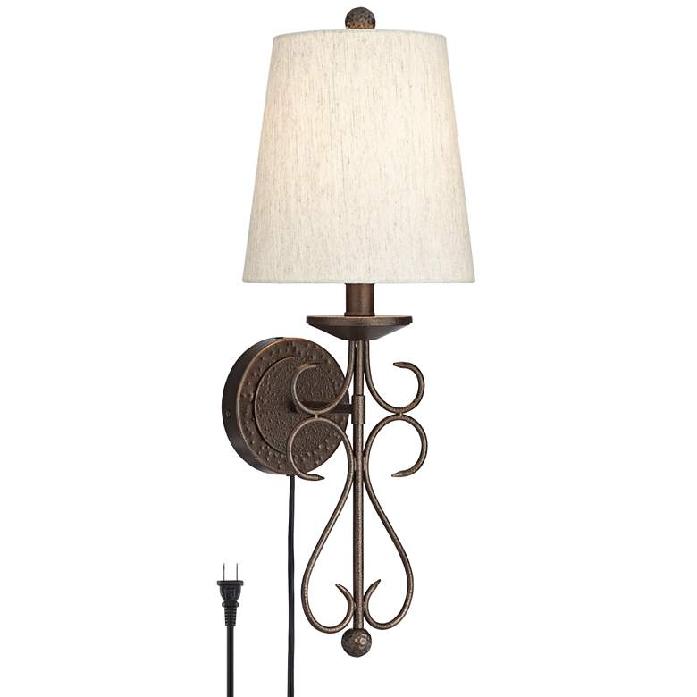 Delaney Dark Bronze Scrolling Pin-up Wall Lamp