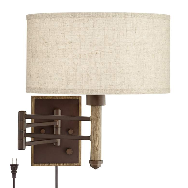 Sitka Bronze and Wood Plug-In Swing Arm Wall Lamp
