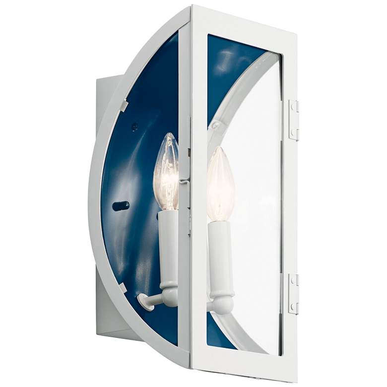 """Narelle 13 1/2""""H White and Blue 2-Light Outdoor Wall Light"""