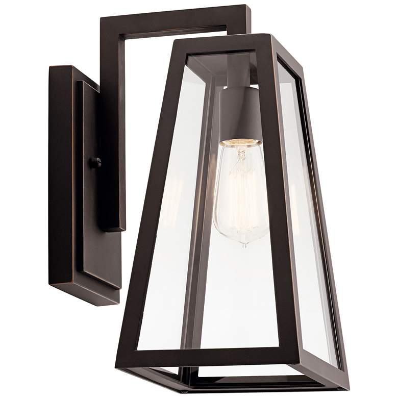 "Kichler Delison 14"" High Rubbed Bronze Outdoor Wall Light"