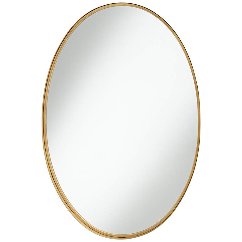 "Harnes Gold 24 1/4"" x 36"" Oval Wide Lip Wall Mirror"