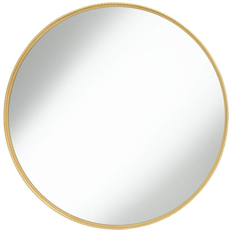 "Cally Gold 31 1/2"" Round Metal Wall Mirror"