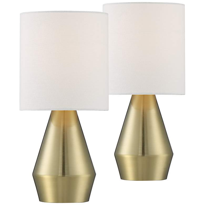 """Marty 14 3/4"""" High Brass Accent Table Lamps"""