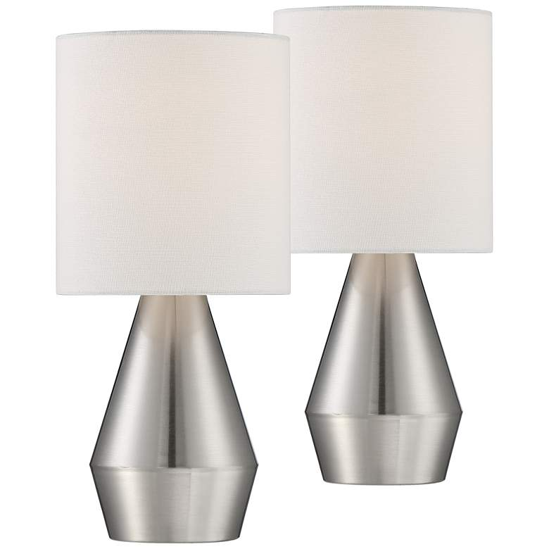 """Marty 14 3/4"""" High Brushed Nickel Accent Table Lamp Set of 2"""