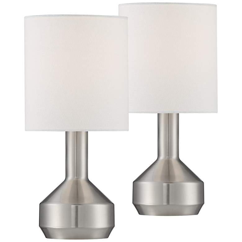 """Syd 14 3/4"""" High Brushed Nickel Accent Table Lamps Set of 2"""