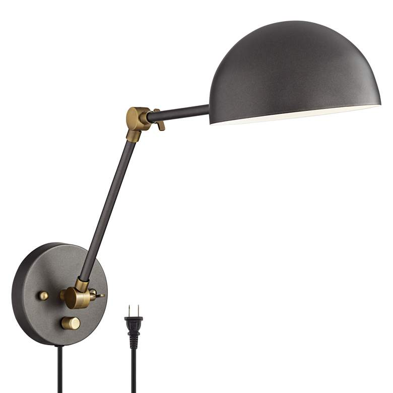Kenora Gunmetal and Brass Plug-In Swing Arm Wall Lamp