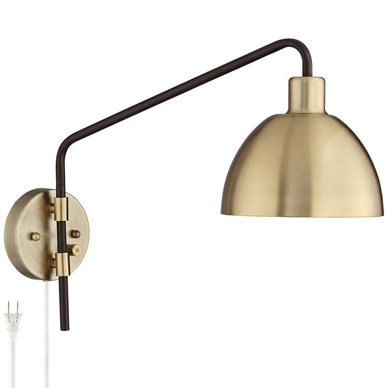 Colwood Antique Brass and Bronze Plug-In Swing Arm Wall Lamp