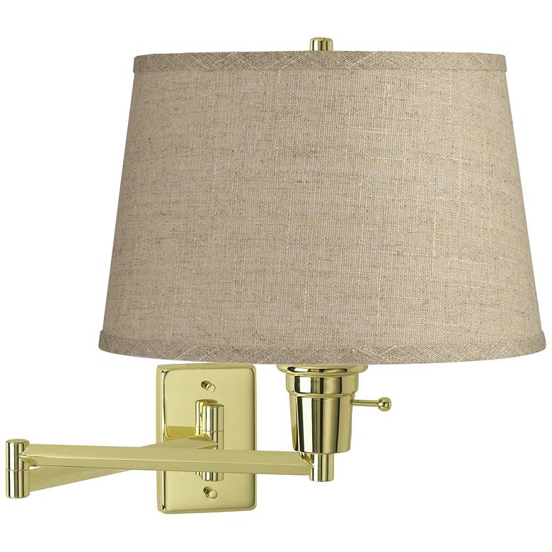 Burlap Drum Shade Polished Brass Plug-In Swing Arm