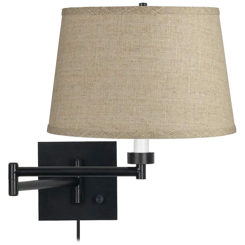 Burlap Drum Shade Espresso Plug-In Swing Arm Wall Lamp