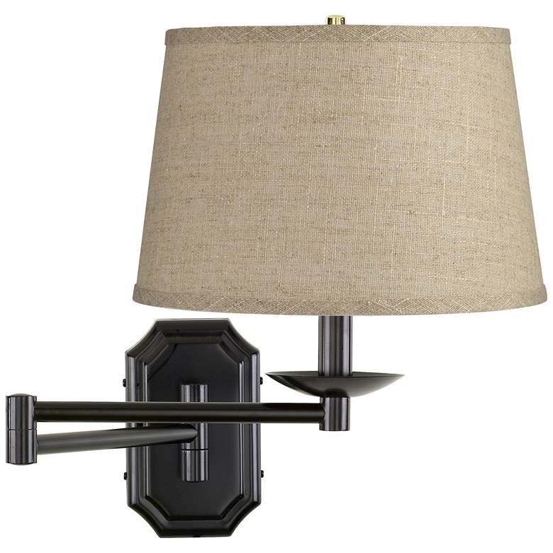 Burlap Drum Shade Dark Bronze Plug-In Swing Arm Wall Lamp