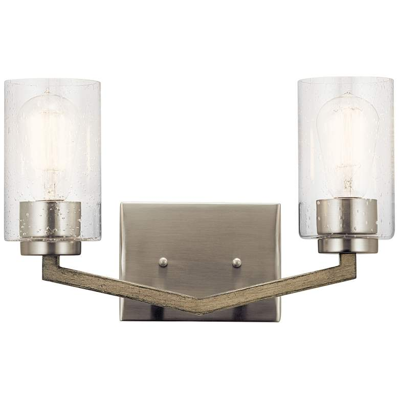 "Deryn 9"" High Distressed Antique Gray 2-Light Wall"