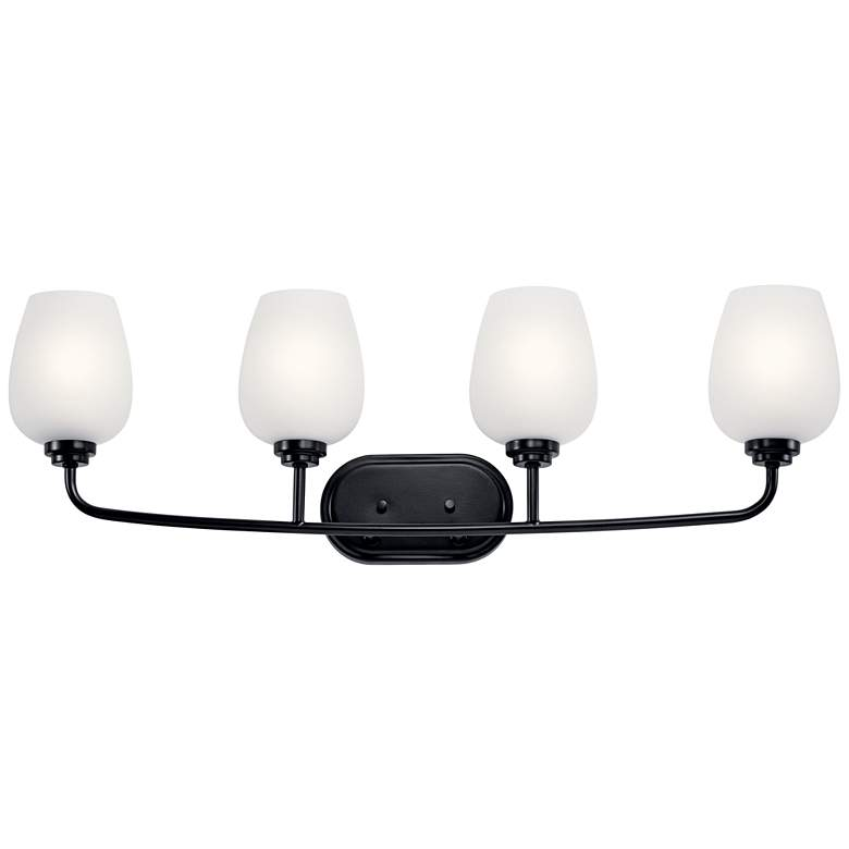 "Kichler Valserrano 33 1/2"" Wide Black 4-Light Bath Light"
