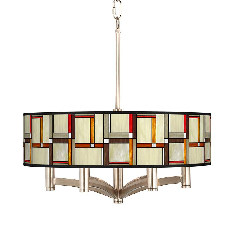 Modern Squares Ava 6-Light Nickel Pendant Chandelier