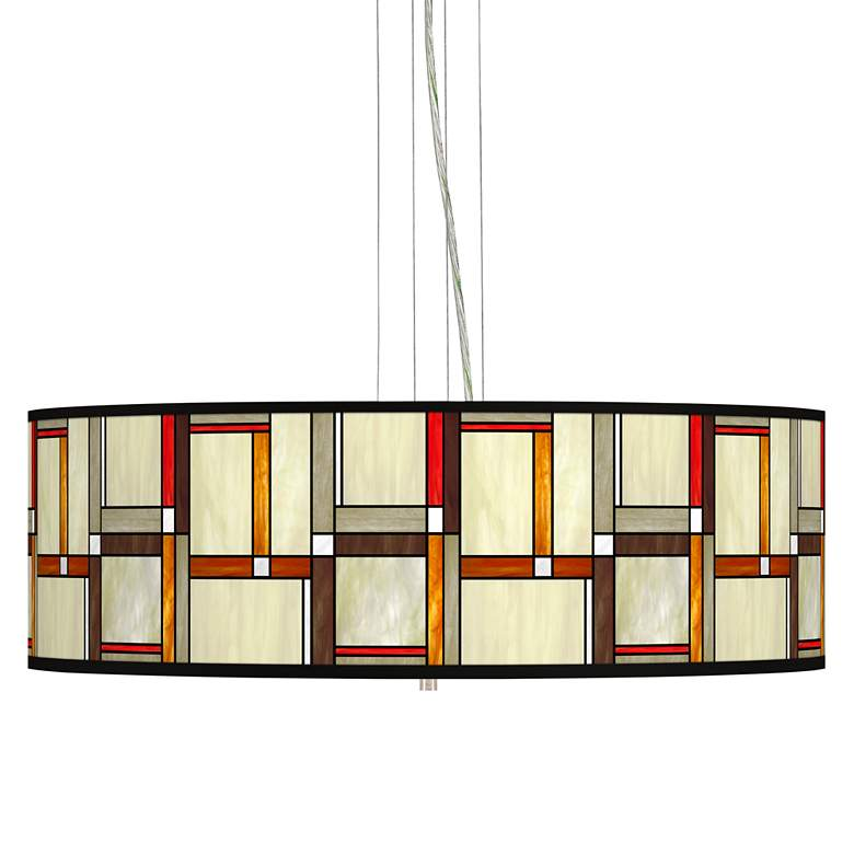"Modern Squares Giclee 24"" Wide 4-Light Pendant Chandelier"