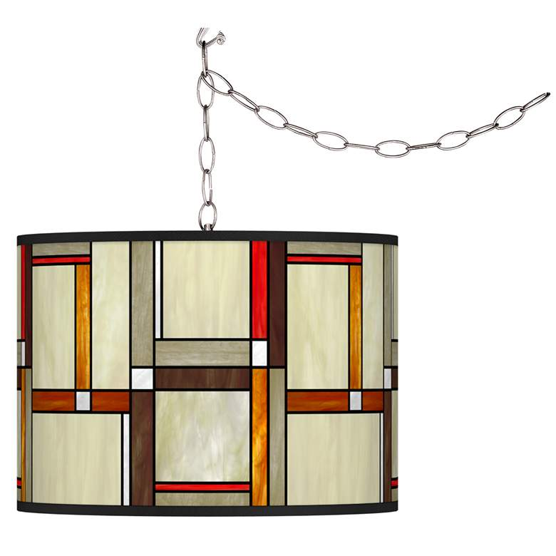 Modern Squares Giclee Glow Plug-In Swag Pendant