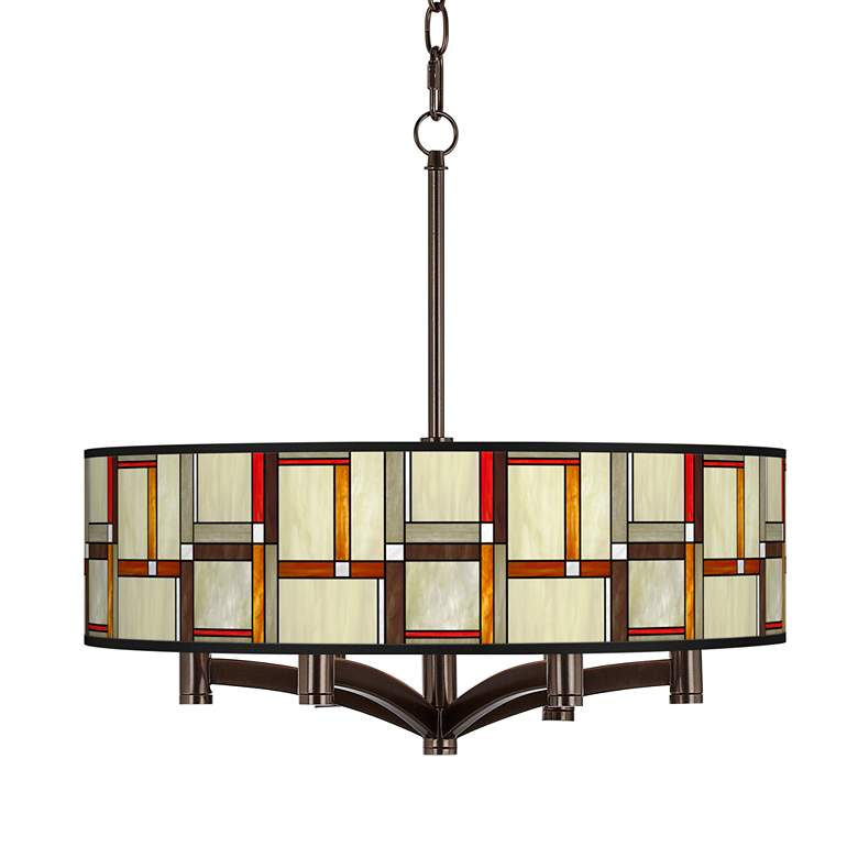 Modern Squares Ava 6-Light Bronze Pendant Chandelier