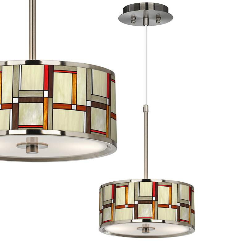 """Modern Squares Giclee Glow 10 1/4"""" Wide Pendant Light"""