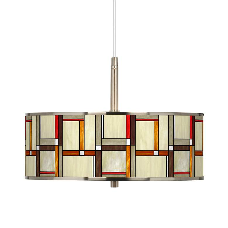 """Modern Squares Giclee Glow 16"""" Wide Pendant Light"""