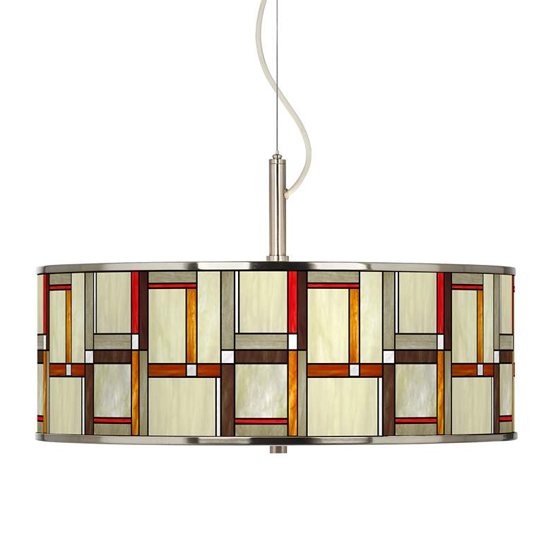 """Modern Squares Giclee Glow 20"""" Wide Pendant Light"""