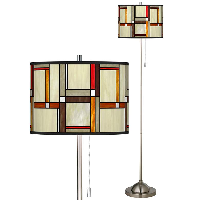 Modern Squares Brushed Nickel Pull Chain Floor Lamp