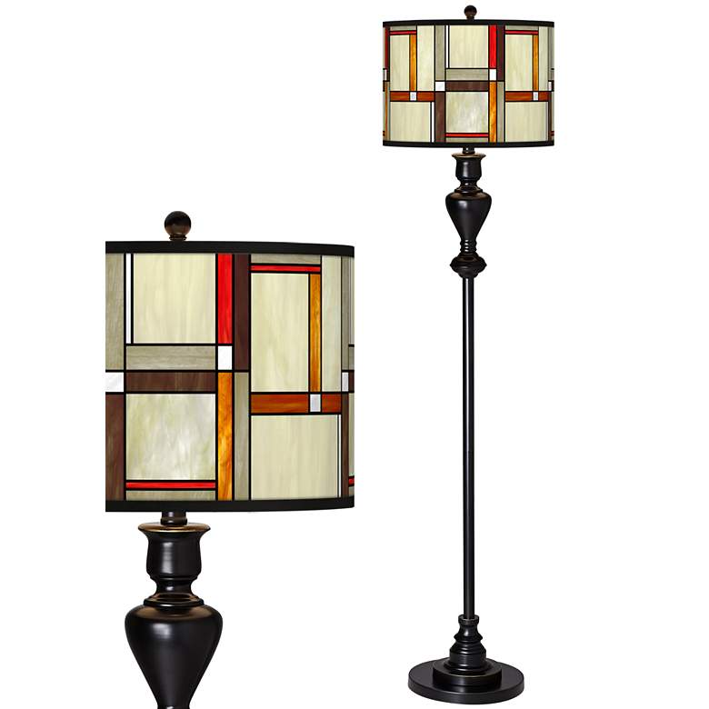 Modern Squares Giclee Glow Black Bronze Floor Lamp